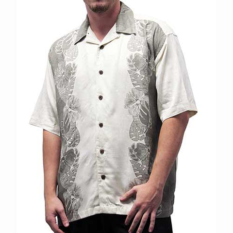 Irvine Park Men's Silk Shirt - Big and Tall - Taupe - bandedbottom