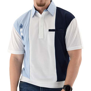 Classics by Palmland Solid Pique Short Sleeve Banded Bottom Shirt Big and Tall LT Blue BL6010-650BT - theflagshirt