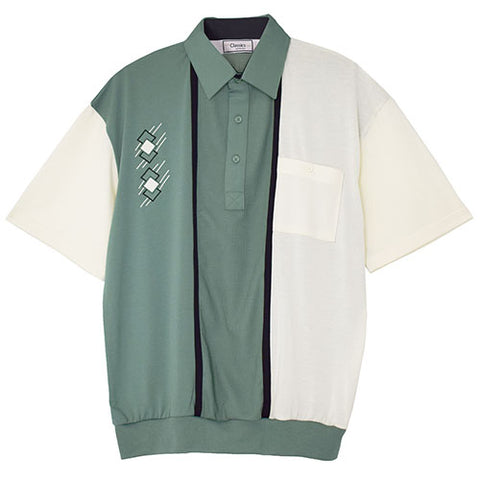 Classics By Palmland Knit Short Sleeve Banded Bottom Shirt with embroidery 6010-672 Sage - theflagshirt
