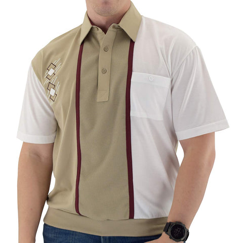 Classics By Palmland Knit Short Sleeve Banded Bottom Shirt with embroidery BL6010-672 Taupe