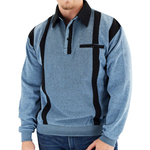 Classics by Palmland Two Tone Banded Bottom Shirt BLF184BT-BLUE - Big and Tall - theflagshirt