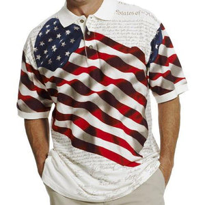 Waving Flag Men's Polo Shirt - the flag shirt