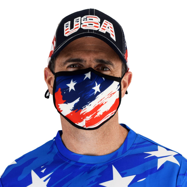 stars and stripes face covering mask - banded bottom
