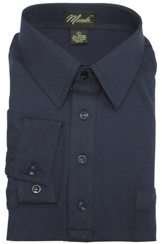 Merola Long Sleeve Pocket Polo Shirt - Navy - bandedbottom