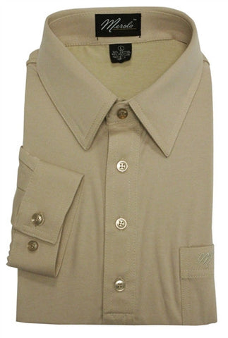 Merola Long Sleeve Pocket Polo Shirt - Tan - bandedbottom