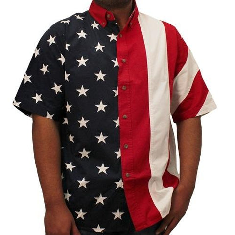 mens american flag half stars and half stripes woven shirt - the flag shirt