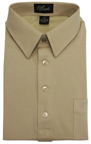 Merola Short Sleeve Pocket Polo Shirt - Tan - bandedbottom