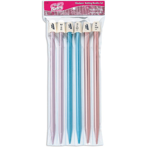 "Silvalume Single Point Knitting Needles 10"" Set"