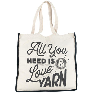 "Lion Brand Canvas Tote Bag "" All you need is love and yarn"""