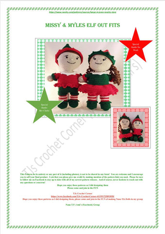 Missy & Myles Elf Out Fits Crochet Patterns