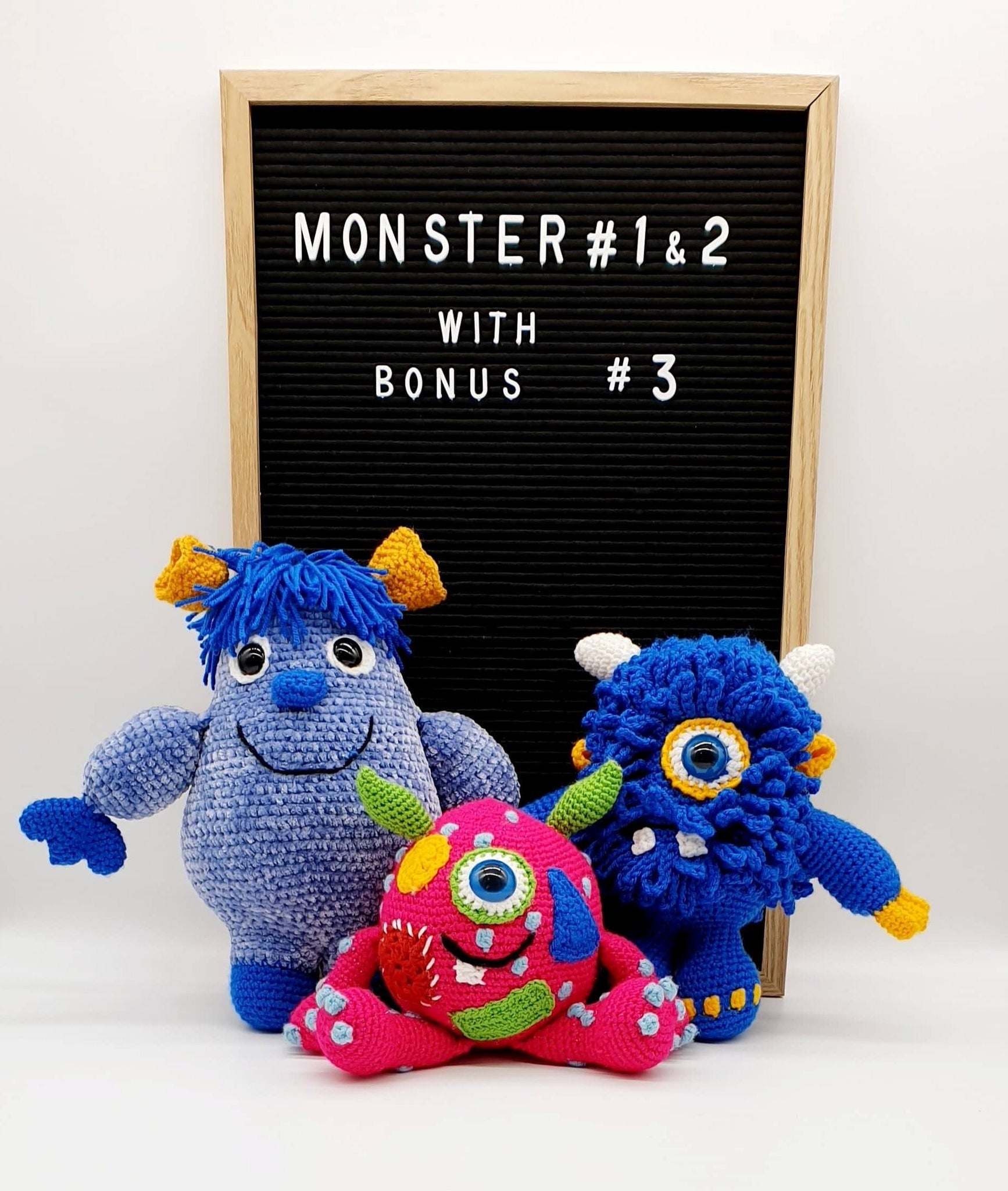 Monster - Syd, Cyndy & Claude Crochet Pattern with Bonus Monster