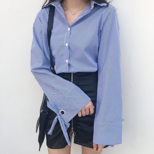 Striped Ribbon Sleeve Button Up Shirt