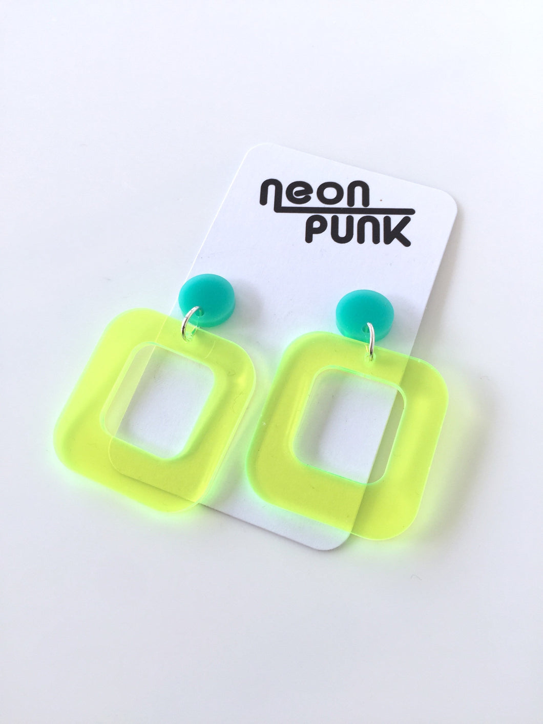 Don't Be A Square Neon Lime Yellow Acrylic Statement Earrings
