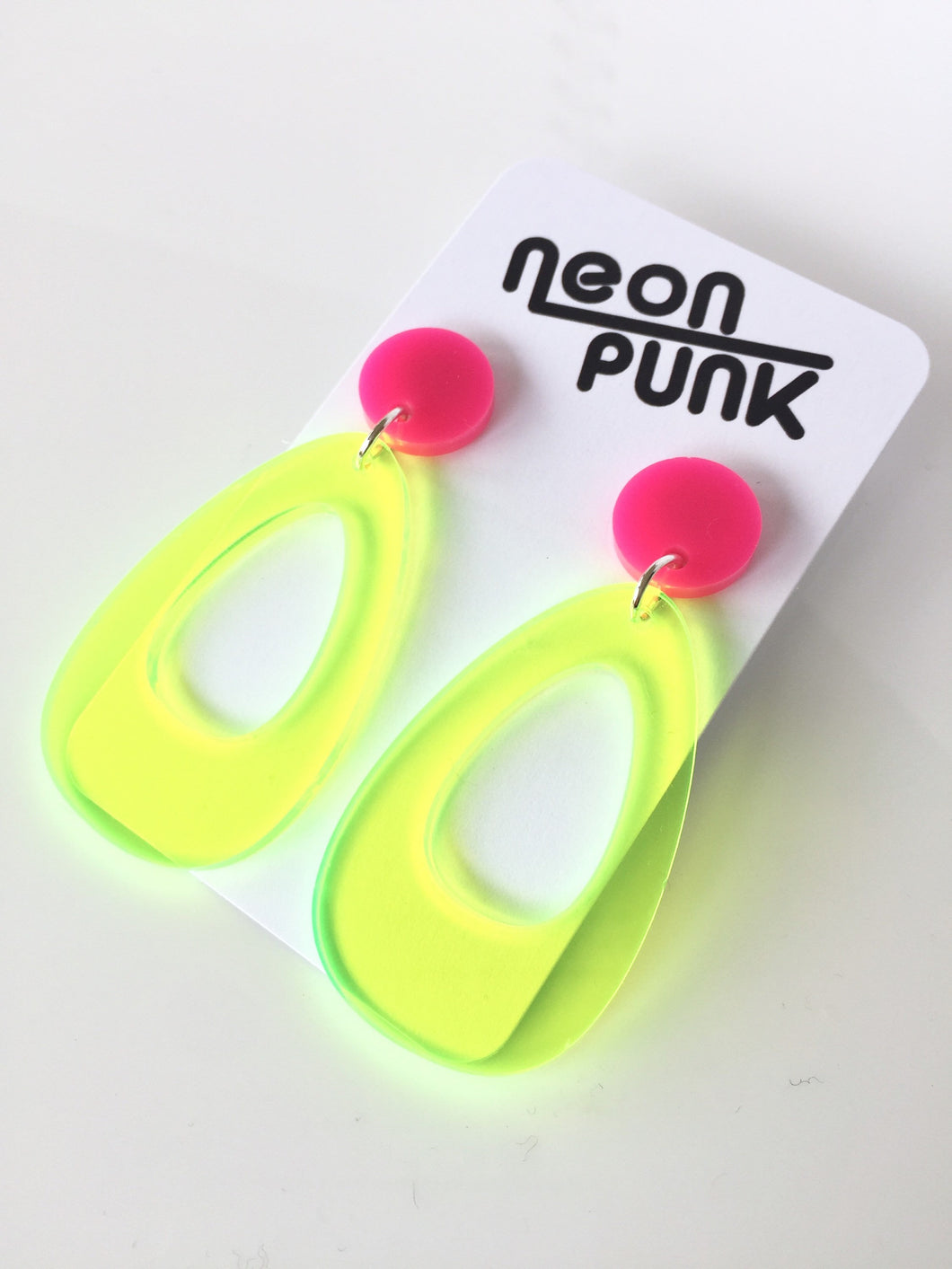 Oh So Retro Lime Neon Yellow Fluoro Acrylic Earrings