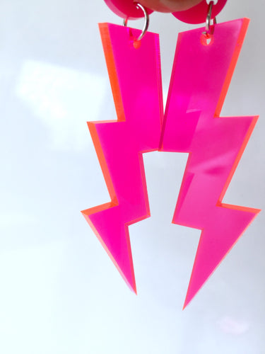 Neon Lightning Bolts Hot Pink Fluoro Earrings Choose Your Size