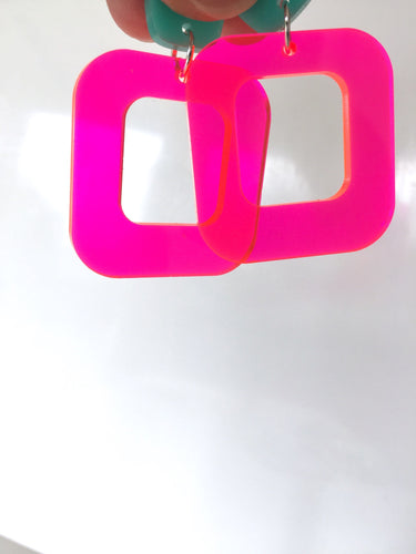 Don't Be A Square Hot Pink Neon Acrylic Earrings
