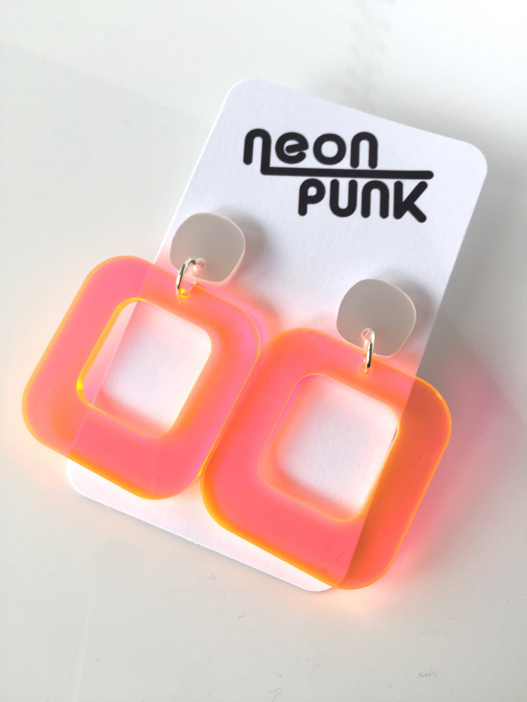 Don't Be A Square Orange Neon Acrylic Earrings