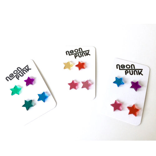 BOWIE Stars Mirror Acrylic Laser Cut Stud Earrings Choose Your Colours
