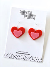 CANDY HEARTS Medium Red and Pink Statement Drop Earrings 40mm