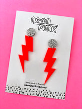 Solid Neon Red Lightning Bolts Earrings Choose Your Size