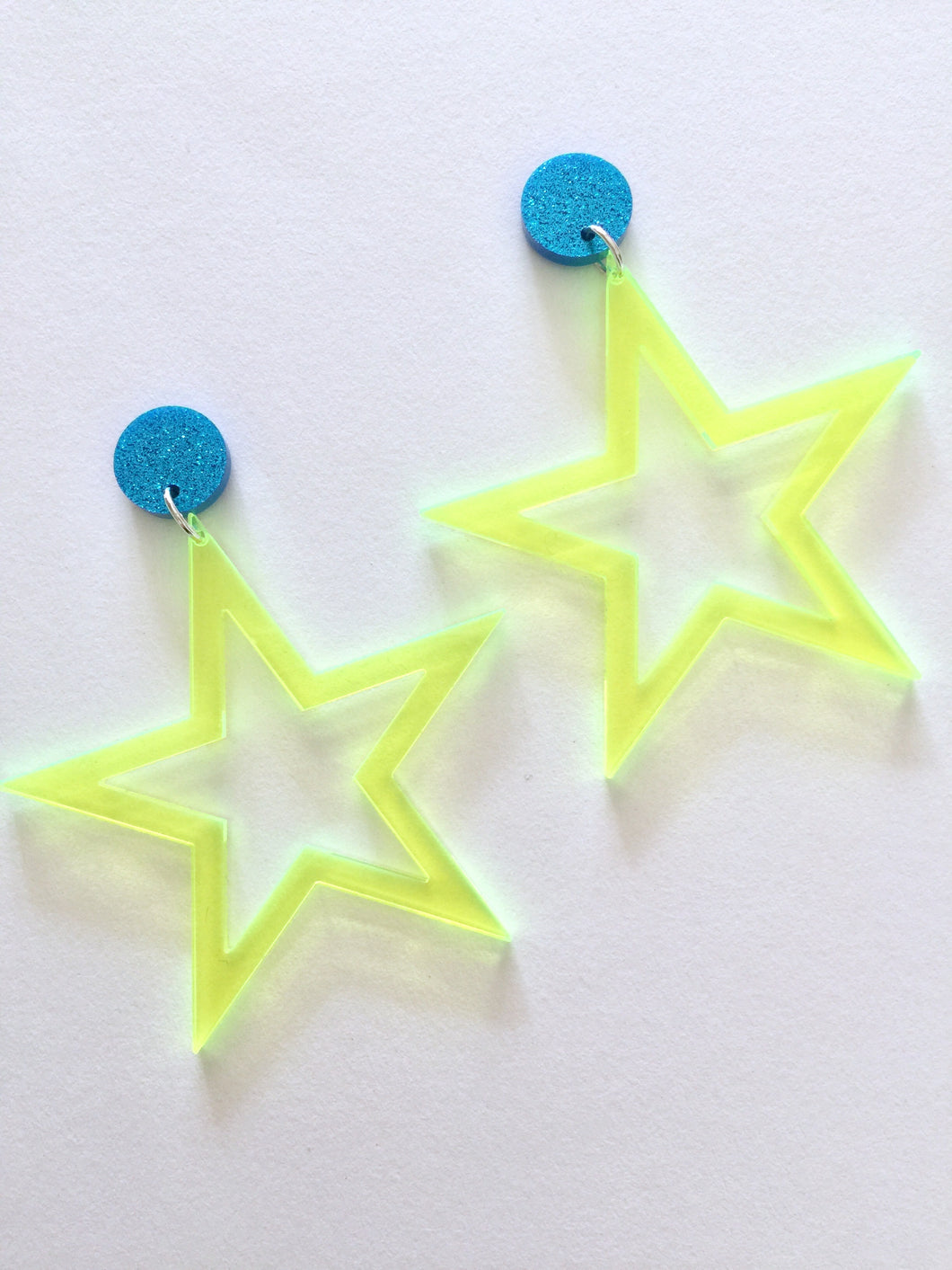 Rockstar Mini Lime Yellow Star Neon Fluoro Acrylic Earrings