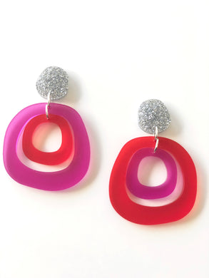 Mismatched Red and Fuschia Jelly Beans Satin Translucent Acrylic Earrings
