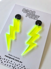 Neon Lightning Bolts Medium Lime Yellow Fluoro Acrylic Earrings