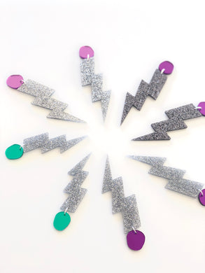 Mirror Tops Silver Glitter Lightning Bolt Earrings Choose your size