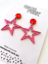 Supaglam MINI Pink Mirror Acrylic Star Statement Earrings