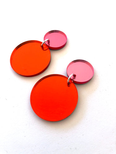 Circles Duo Mirror Acrylic Statement Earrings Choose Your Colour