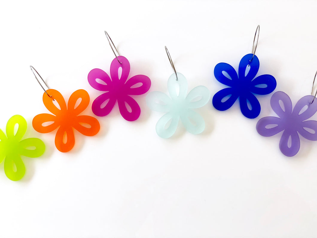 Jelly Flowers Satin Translucent Acrylic Earrings