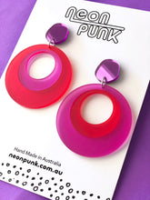 Mod Squad Dangles Satin Red Fuschia Acrylic Earrings