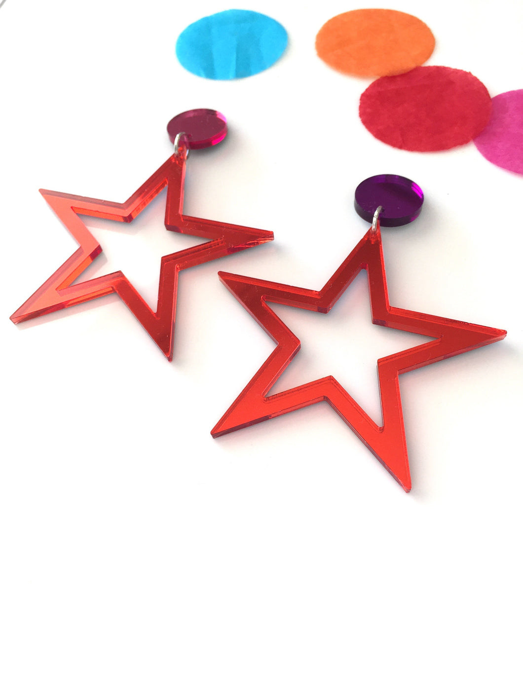 Supaglam Red Star Mirror Acrylic Statement Earrings