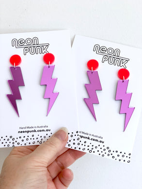 Mirror Lightning Bolts Earrings Choose Your Size
