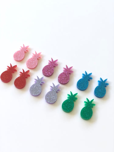 GLITTER PINEAPPLES Acrylic Stud Earrings Mixed Colours
