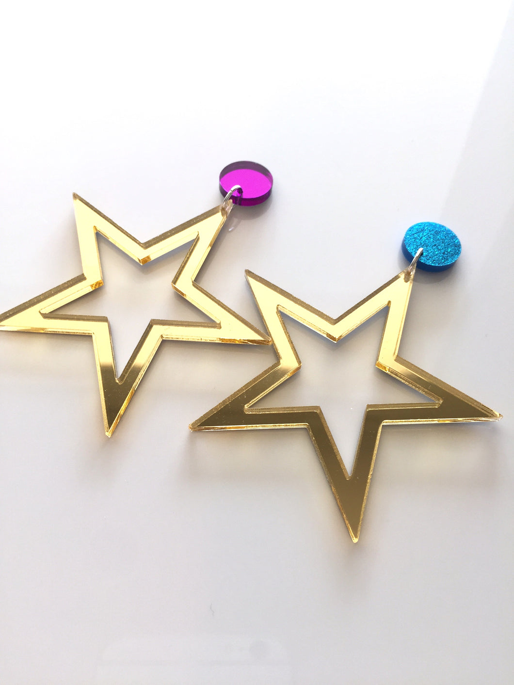 Supaglam Gold Star Mirror Acrylic Statement Earrings