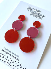 Circles Trio Mirror Acrylic Statement Earrings Choose Your Colour