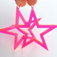 Rockstar Mini Star Neon Pink Fluoro Acrylic Earrings