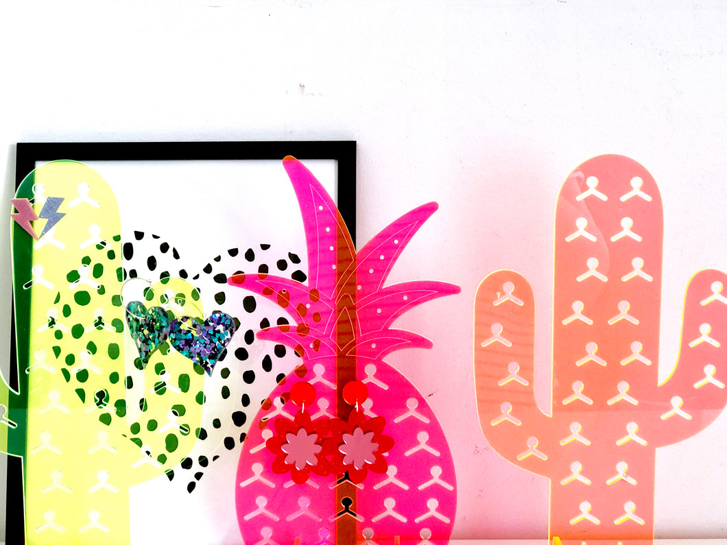 Neon Pineapple Earring Stand Holder Fluoro Acrylic