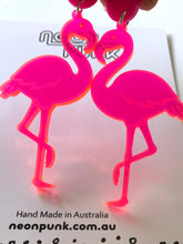 neon acrylic flamingo earrings