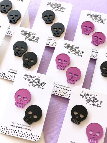 Skulls Halloween Statement Studs Acrylic Earrings