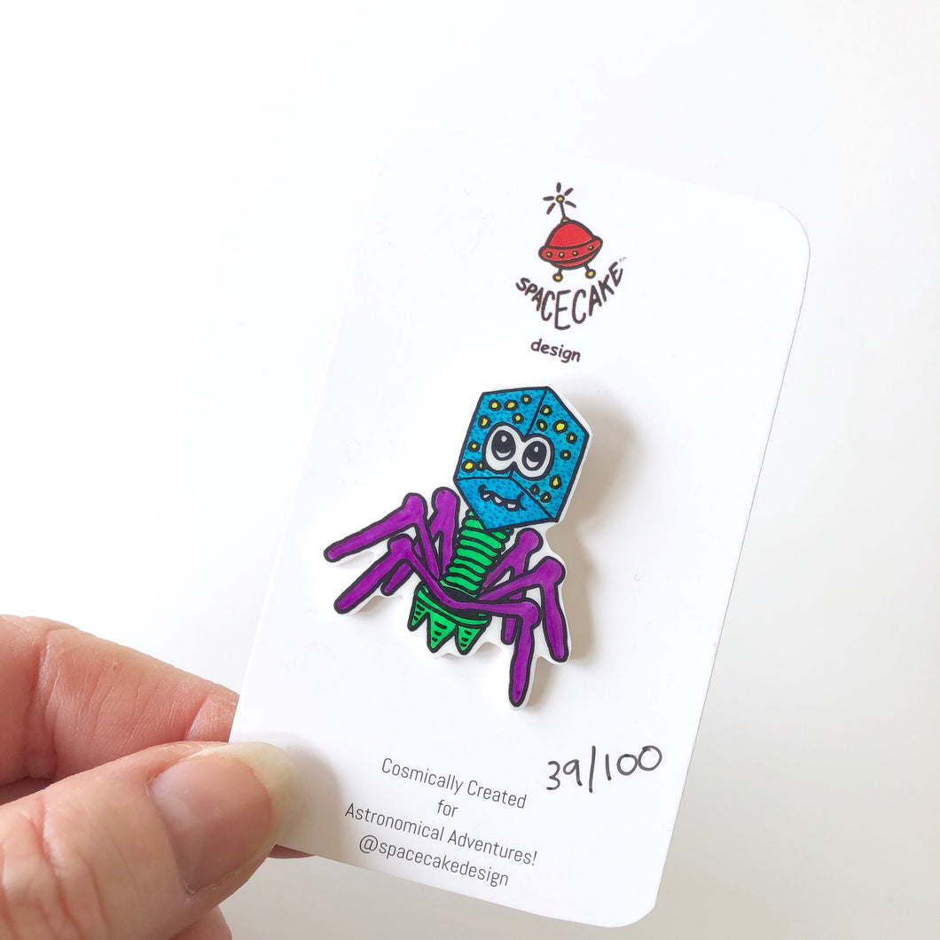 Microbe Monster Pin by Spacecake Design