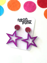 Supaglam MINI Purple Star Mirror Acrylic Statement Earrings