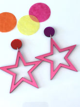 Supaglam Pink Mirror Star Acrylic Statement Earrings