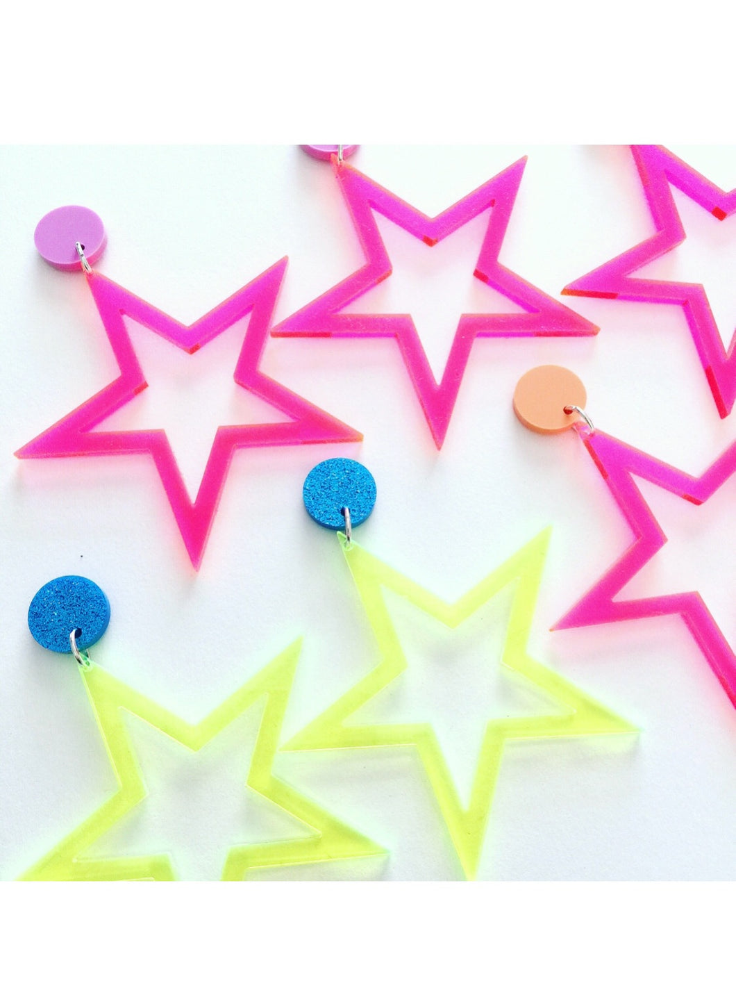Rockstar Star Neon Pink Fluoro Acrylic Earrings
