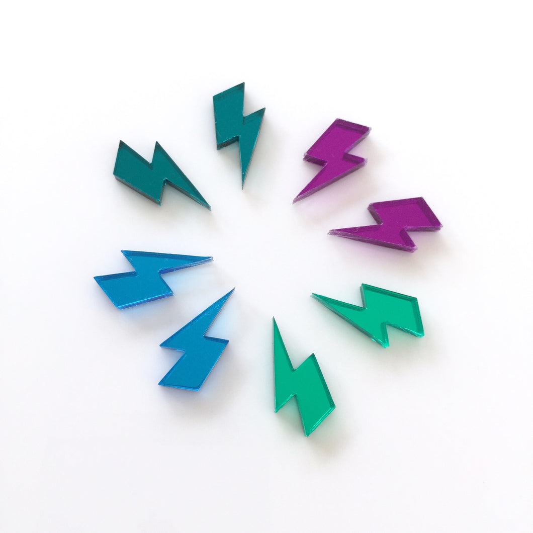 Mirror BOLTS Acrylic Studs Earrings Laser Cut Mixed Colours