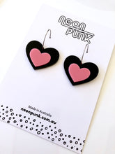 CANDY HEARTS Black and Pink Statement Drop Earrings 40mm