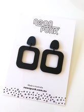Don't Be A Square All Matte Black Acrylic Earrings