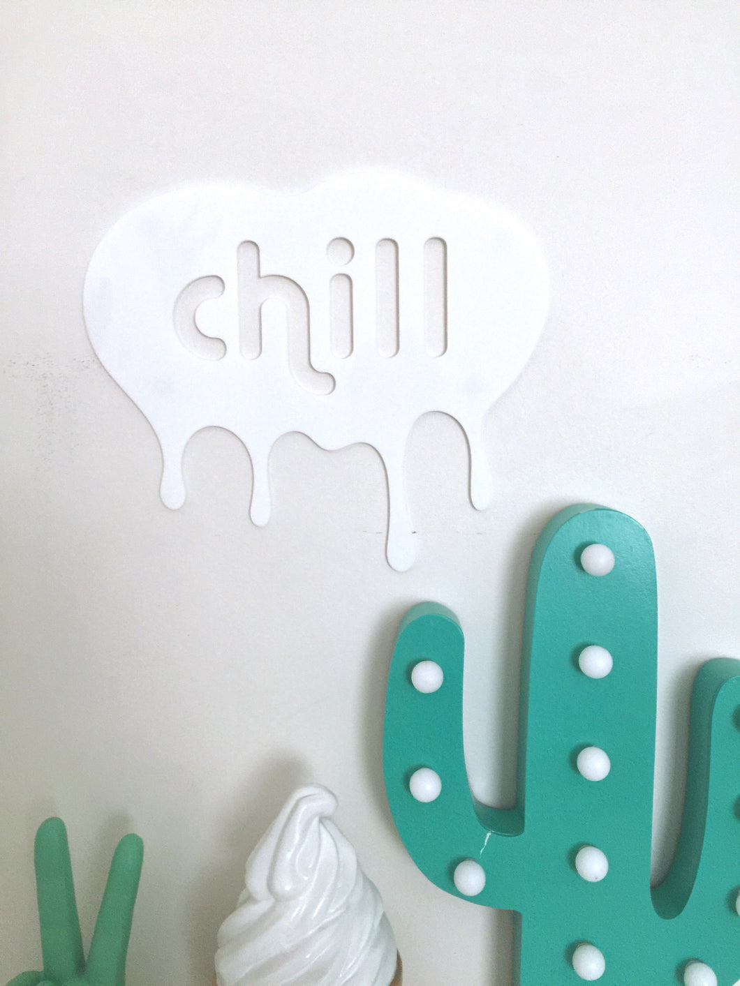 CHILL White Single Layer Acrylic Wall Plaque Kids Room Decor