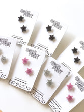 GLITTER Stars Acrylic Studs Earrings Mixed Colours